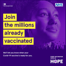Join the millions already vaccinated.  We'll let you know when your covid-19 vaccination is ready for you.   Each vaccination gives us hope.