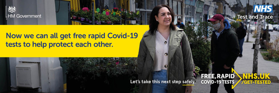 How we can all get free rapid Covid 19 tests to help protect each other. Let's take this next step safely. Free Rapid Covid 19 Tests NHS.uk/Get-Tested