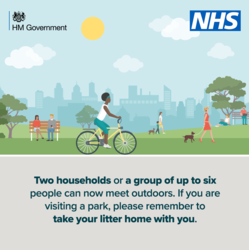 Two households or a group of up to six can now meet outdoors.  If you are visiting a park please remember to take your litter home with you