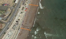 Aerial view of Teignmouth beach showing where work was being carried out on two groynes