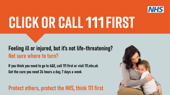 Click or call 111 first.  Feeling ill or injured but its not life threatening call 111 first or visit 111.nhs.uk