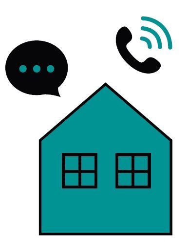 graphic of a house, a telephone handset ringng and dotted space for words