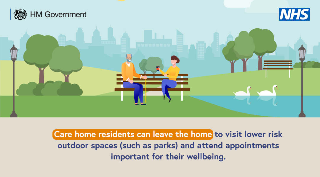 Care home residents can leave the home to visit lower risk outdoor spaces and attend appointments essential for their wellbeing