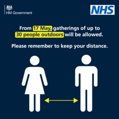 From 17 May gatherings of up to 30 people outdoors will be allowed.  Please remember to keep your distance