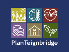 Icons showing different elements covered by the local plan and words Plan Teignbridge