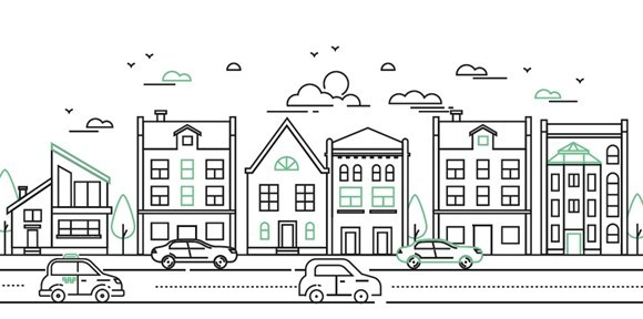 Illustrations of buildings on the other side of a road with cars