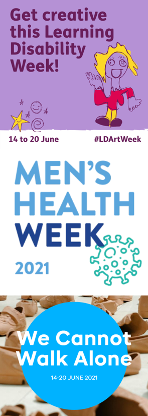 logos of three charity initiatives - learning disability week, Men's Health Week, Refugee week