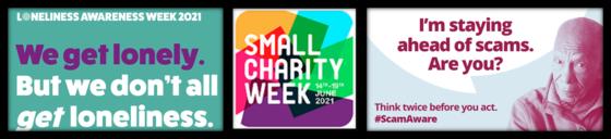 logos of three charitiy initiatives - Loneliness awareness week, small charity week, scam awareness