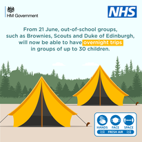 From 21 June out-of-school groups such as brownies Scouts and Duke of Edinburgh will be able to have overnight trips in groups of up to 30 children