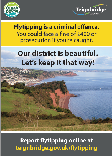 Flytipping is a criminal offence.  You could face a fine of £400 or prosecution if caught.  Our district is beautiful  Let's keep it that way
