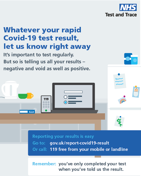 Whatever your Covid-19 test result let us know right away. It's important to test regularly. But so is telling us all your results