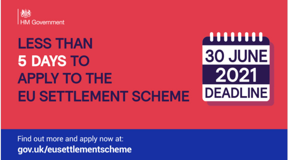 Less than five days to apply to the EU settlement scheme