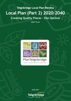 Teignbridge Local Plan review cover.  Local Plan (Part 2) 2020-2040.  Creating Quality Spaces - Site Options.  Draft Plan