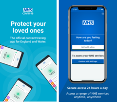 Two NHS apps - contact tracing, health