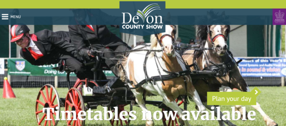Devon show web page, what's on and reminder to plan visit