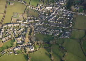 aerial view of a village