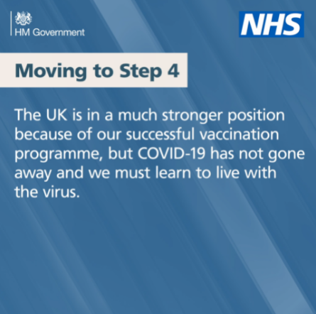 Moving to step 4. The UK is in a much stronger position because of our successful vaccine programme but Covid-19 has not gone away.