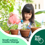 Small actions create change.  Plant for our Planet.  Young girl watering seedlings  in pots
