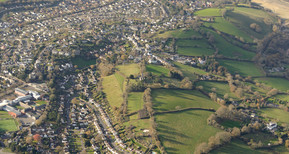 Aerial view of part of the heart of Teignbridge