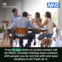 From19 July limits on social contact lifted.Consider limiting close contact with people you do not live with and open windows to let air in