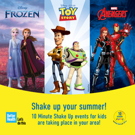 Shake up your summer! 10 minute shake up events for kids taking place in your area.  Disney images