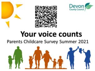 Devon Child Care survey QR code and link