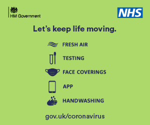 HM Government. Let's keep life moving.  Fresh air, testing, Face coverings, App, Handwashing gov.uk/coronavirus