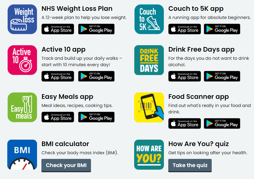 NHS better health apps