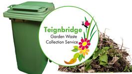 garden waste service - green bin and pile of green waste