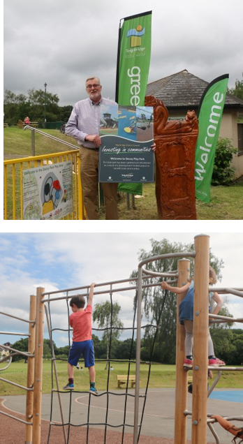 Decopy paly park opening  - image of Cllr Andrew MacGregor  and one of child on play equipment