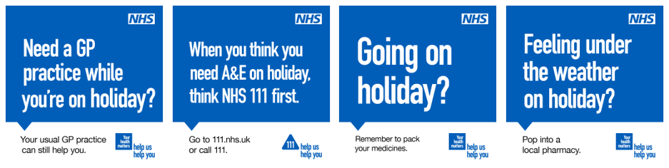 NHS promotional images on seeking health care when on holiday