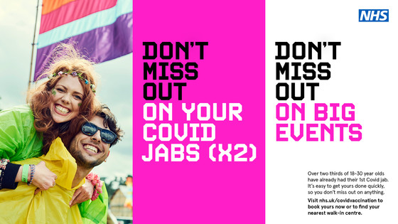 Don't miss out on your covid jabs (x2), Don't miss out on big events