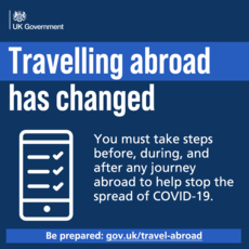 Travelling abroad has changed.  You must take steps before, during and after any journey abroad to help stop the spread of Covid-19