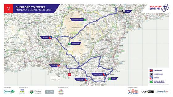 Tour of Britain Devon stage route