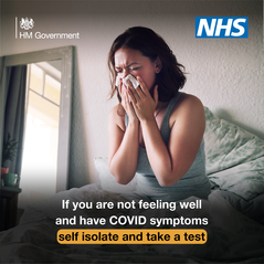 If you are not feeling well and have Covid symptoms self isolate and take a test