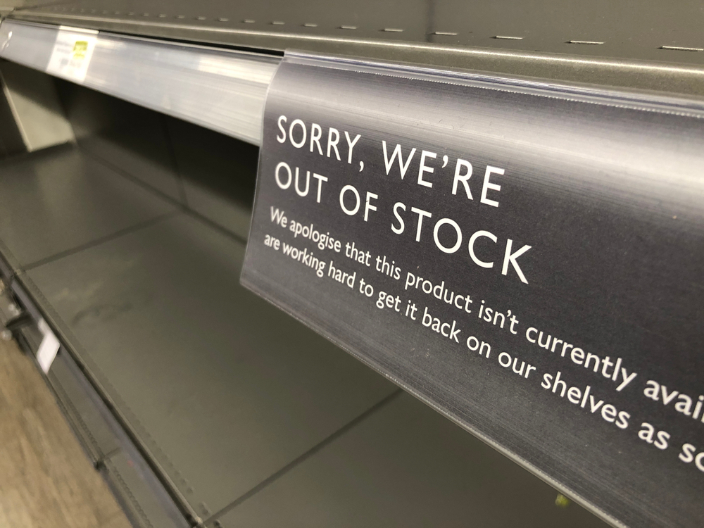 Empty shelves due to panic buying