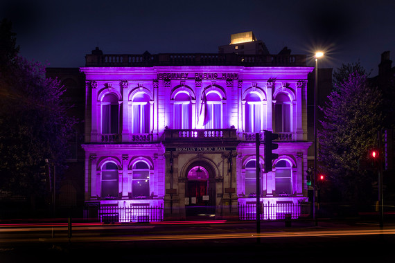 Bromly Public Hall in purple