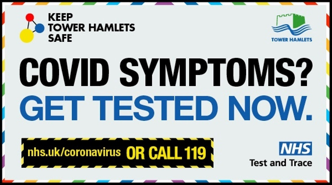 Text: COVID symptoms? Get tested now.
