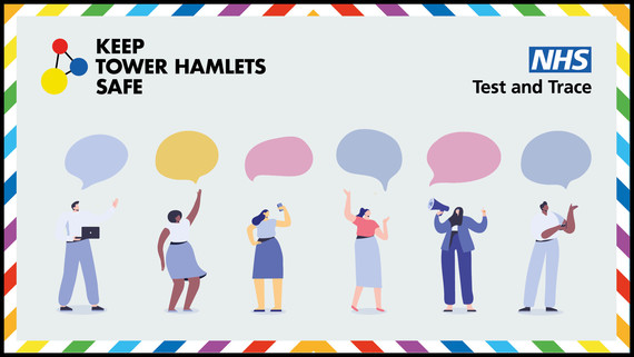 Text: Keep Tower Hamlets Safe - Test and Trace