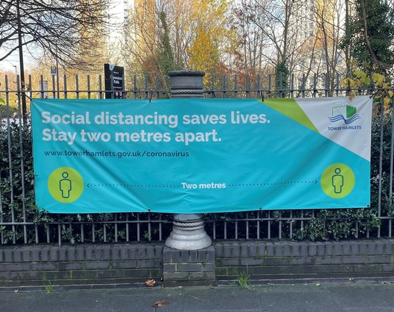 Social distance in parks banner