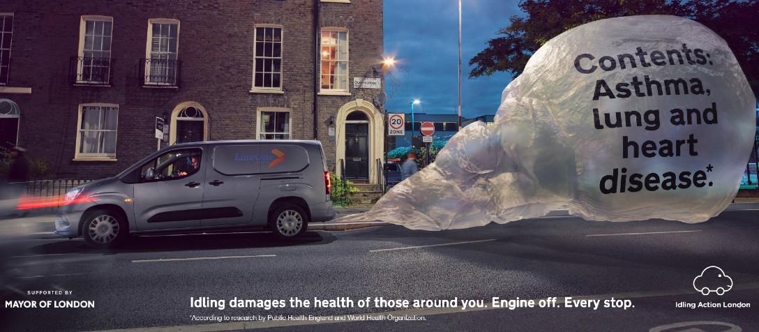 Image of an idling car releasing harmful fumes
