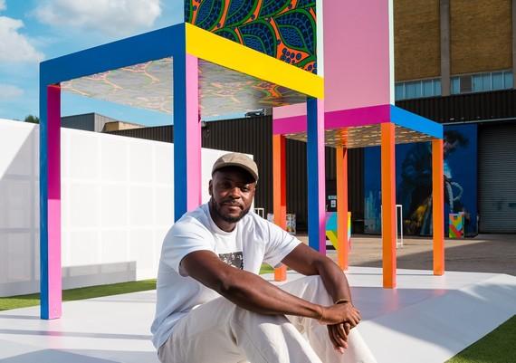 Iconic British artist Yinka Ilori designs Canary Wharf's first basketball court