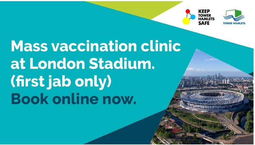 Mass vaccination clinic at london stadium. First jab only