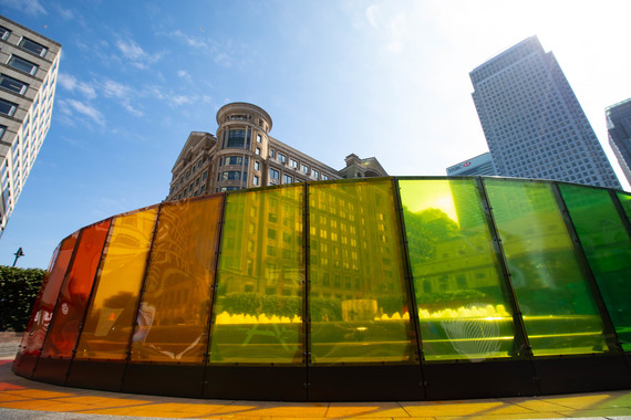 Canary Wharf Summer Lights - Circle of Light Spectrum by toyStudio, Cabot Square