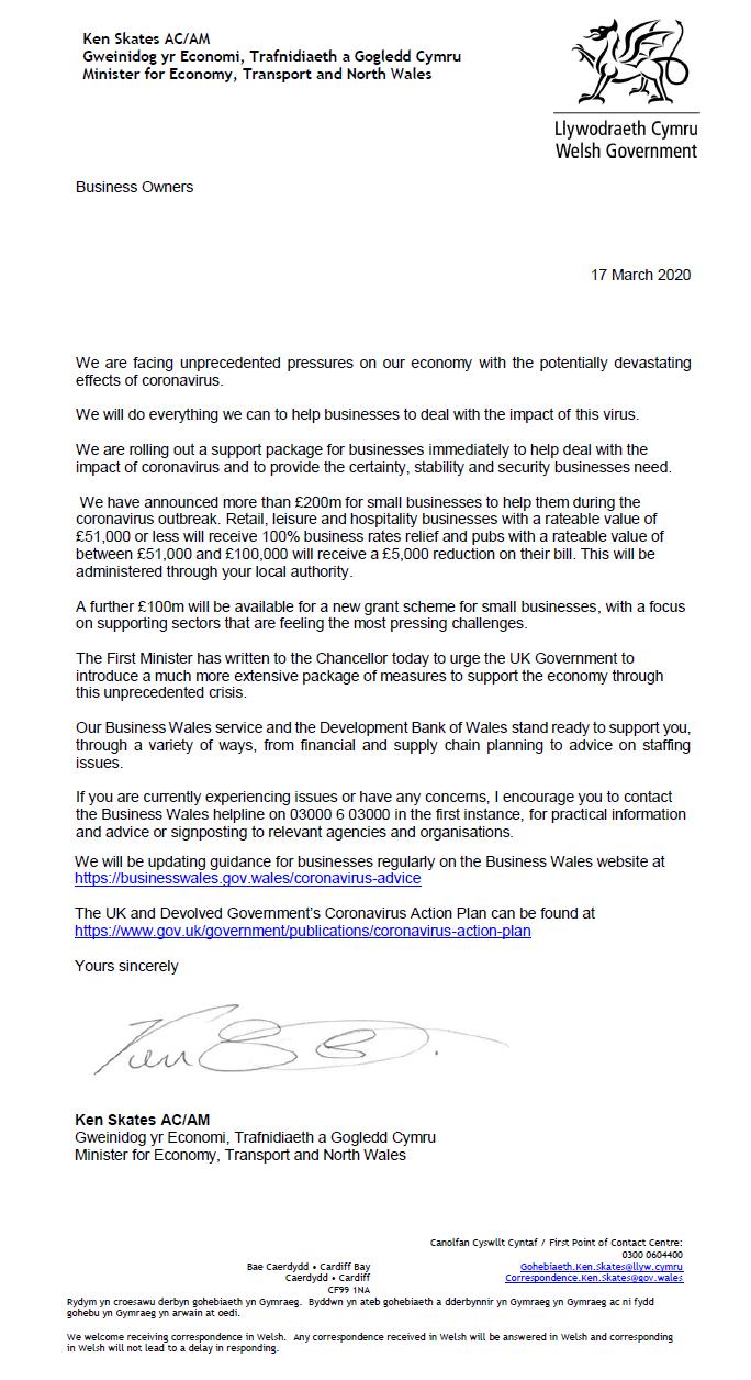 Coronavirus letter to Businesses