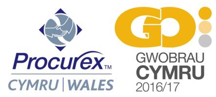Logo Procurex Cymru a'r Gwobrau GO