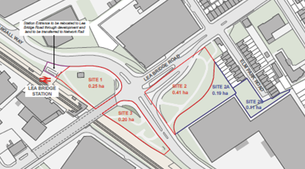 3 Station Sites Lea Bridge red line plan