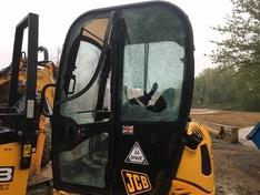 Vandalised JCB at Cheney Row Park