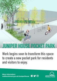 Juniper House Pocket Park information board
