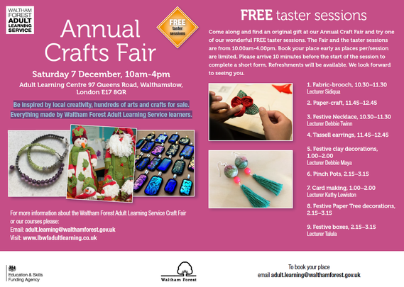 Adult Learning Services Taster Classes and Craft Fair 071219